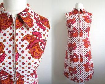 60's - 70's Finnish Mod Dress by Barbarella, Pink & Orange on White Sleeveless Summer Dress, Pointed Collar, Zip-Up Front, Medium Large M/L