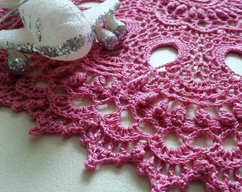 "Cowberry crochet doily Round 36 cm / 14"". Crocheted Doily."