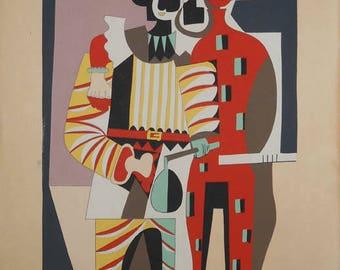 vintage color pochoir After Pablo Picasso Pierrot et Harlequin ca.1920 ballet Picasso print