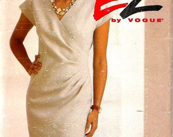 Vogue 8686 Ultra EZ Misses Mock Wrap Dress Pattern, 8-10-12, UNCUT