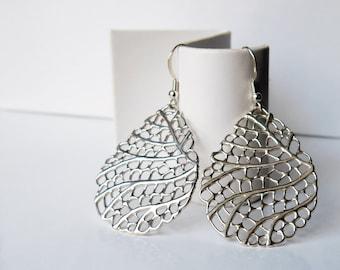 Sterling silver filigree teardrop earrings with lever-back hooks