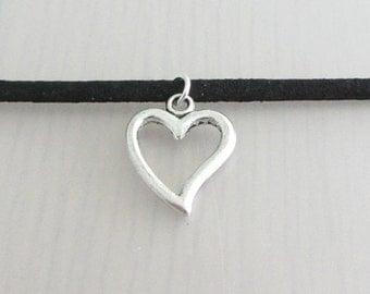 Silver Heart Charm Black Faux Suede Choker Necklace, 3mm Width Black Faux Suede Choker Necklace, Valentine Gift, Heart Charm Choker