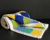 Vintage Crochet Afghan Green Blue Yellow White Hand Made Throw Blanket