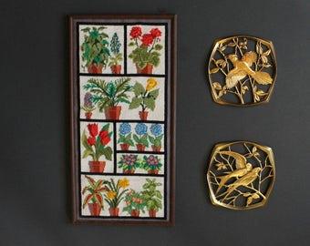 Vintage Needlepoint Tapestry Floral Potted Plant Life Canvaswork Framed Art Needlework