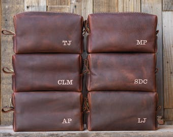 Personalized Toiletry Bag Groomsman Gift Personalized Leather HANDMADE Toiletry Case Lifetime Leather Co Groomsman Groomsmen Gifts Dopp Kit
