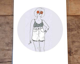 Fashion Illustration, 8 by 10 Inches, Fine Art Print from Original, Hipster, Shorts, Art Prints