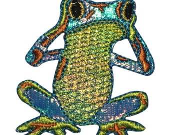 ID 0002 Colorful Frog Shiny Blue Hear No Evil Embroidered Iron On Applique Patch