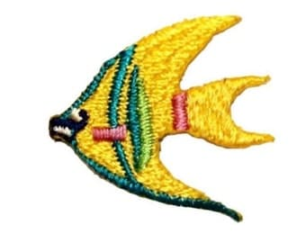 ID 0268A Angle Fish Swimming Patch Tropical Pet Emblem Iron On Applique