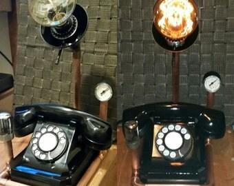 STEAMPUNK Telephone Lamp! Industrial Lamp Working Phone! Edison Bulb Lamp!
