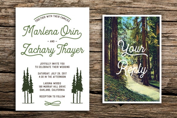 Retro redwoods wedding invitation and postcard rsvp retro like this item stopboris Images