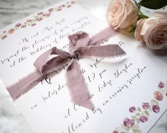 Wedding Invitation, Day/Evening Wedding Invitation, Floral Wedding Invites, Rose Wedding Invitation