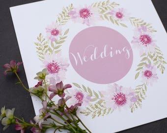 Bliss Floral Wedding Invitation, folded wedding invitation, Day flower wedding invite