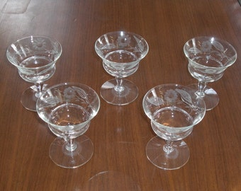 5 Vintage Flower Leaf Etched Glass Sherbet Dessert Dishes