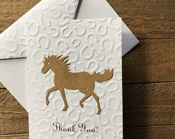 Horse Cards, Thank You Cards, Horse Shoe Embossed Cards, Stationery Set, Greeting Cards, Cards for Horse Lovers, Horse Note Cards