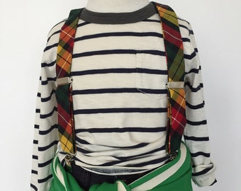 Fall Plaid in Green, Gold and Burgundy Suspenders