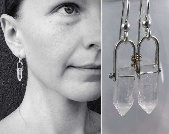 "Featured listing image: Quartz Crystal Point Earrings - Sterling Silver - Faceted Quartz Points - ""Piezo"" Earrings"