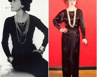 1930s Black Dress Silk Brocade Chanel Style