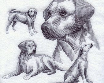 Embroidered Labrador Retriever Quilt Block Square Lab Dog Sketch Embroidery