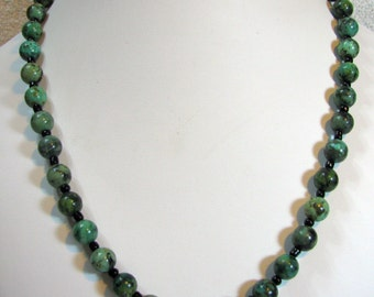 Green Chrysocolla Beaded Necklace With Black Filler Beads - Item 361
