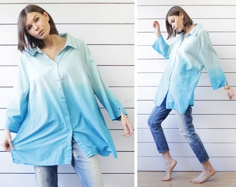 Vintage sky blue ombre dyed cotton plus size oversized shirt blouse