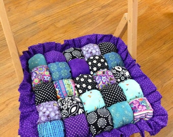 Folding Chair Cushion - 14x14 with Ruffle - Bubble Quilt Style - Purple Teal and Black - Biscuit Quilt Style Handmade Cushion - Ready toShip