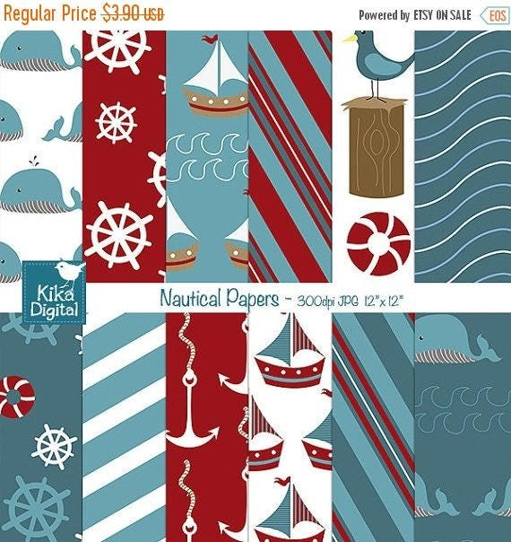60% SALE Nautical Digital Papers - Digital Scrapbooking Papers - card design, invitations, background, web design - INSTANT DOWNLOAD