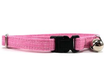 Cat Collar, Small Dog Collar, Pink Crosshatch