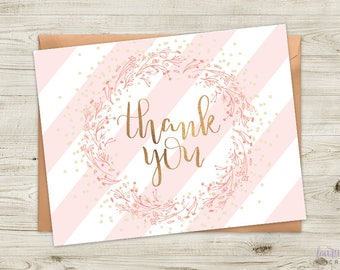 Stripes and Wreaths Pink Baby Shower Thank You Card | DIGITAL