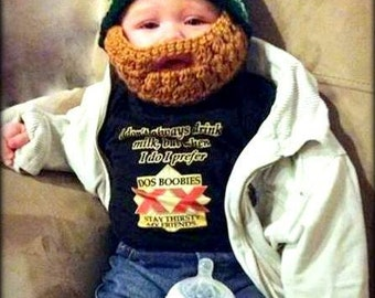 Crocheted Baby (6 to 12 Months) Beard Hat, beard baby hat, custom beard hat
