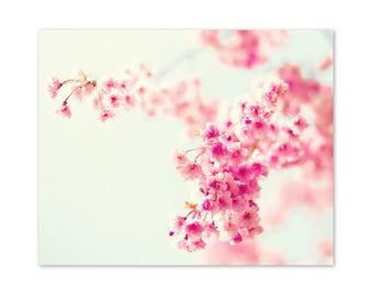 Spring decor, cherry blossom art, canvas art, flower photography, white art, white wall art, large art, large wall art, flower art, print