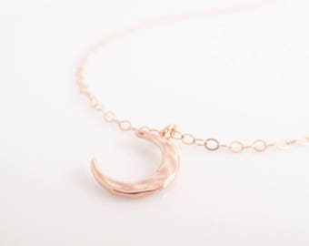 Tiny Rose Gold Hammered Crescent Necklace, Dainty Moon Sliver Charm Necklace, Everyday Simple Jewelry, Minimalist, To The Moon and Back