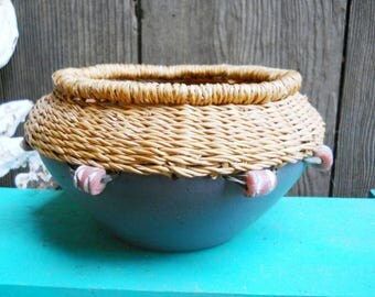 Rustic Primitive Pottery Ethnic African Tribal Ghana Pottery Pine Needle Basket Black Hand Coiled Terracotta Redware Clay Unusual Bowl Jar