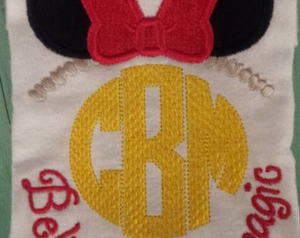 """Minnie Mouse inspired """"believe in the magic"""" machine embroidered shirt....birthday...Minnie Mouse...Disney"""