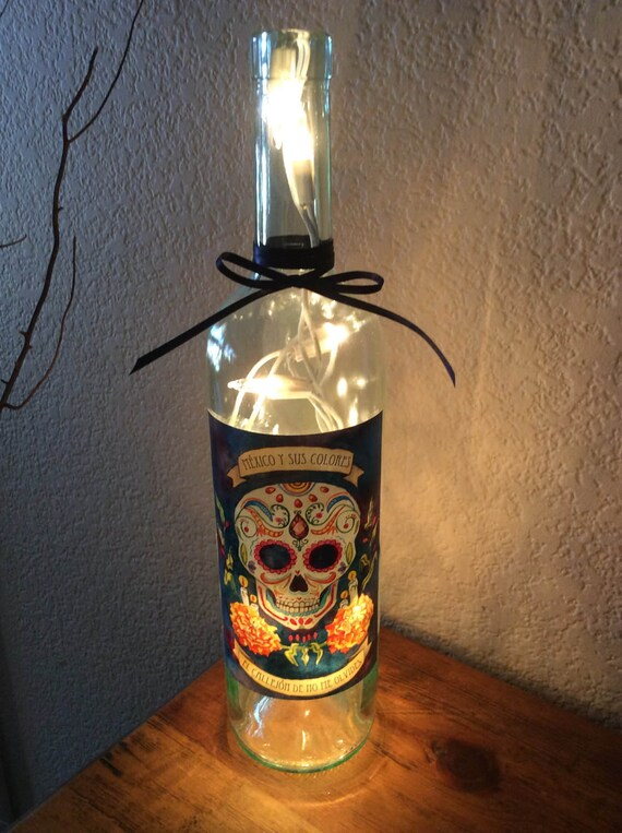 Wine Bottle Light Mexico Y Sus Colores Sugar Skull Bottle Light Home Decor Wine Gift Wine