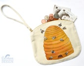 Bee Hive Canvas Zip Purse, Makeup Bag, Coin Purse, Small Accessory Pouch