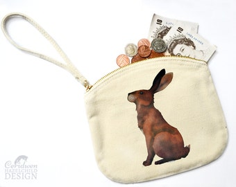Hare Canvas Zip Purse, Makeup Bag, Coin Purse, Small Accessory Pouch