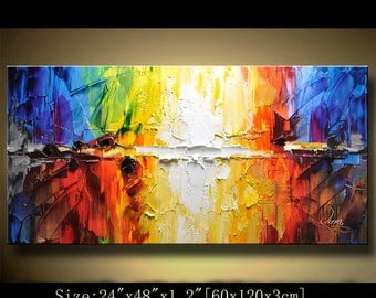 contemporary wall art,, Modern Textured Painting,Impasto  Landscape  Textured Modern Palette Knife Painting,Painting on Canvas by Chen 0323