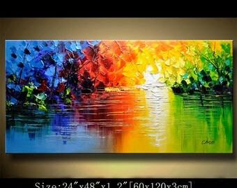 contemporary wall art,Palette Knife Painting,colorful Landscape painting,wall decor,Home Decor,Acrylic Textured Painting ON Canvas Chen 0404