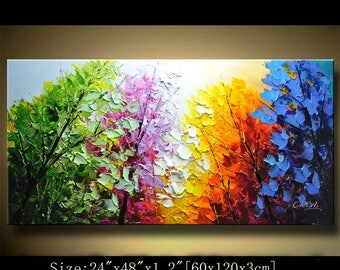 Abstract Wall Painting,Palette Knife Abstract Painting, Textured Painting,,Landscape Painting ,Park Lights Painting  on Canvas, by Chen 0510