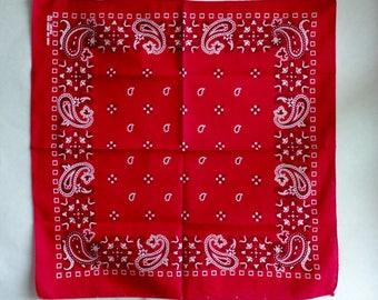 Vintage FAST COLOR All Cotton Red White Black Bandana Handkerchief RN 13960 Country Biker Rockabilly Scarf Hanky Paisley Western Bandanna