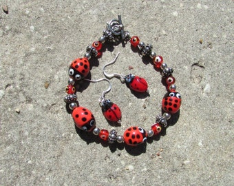 Lady Bug Bracelet and Earring Set