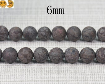 15 inch strand of Brown Snowflake Obsidian matte round beads 6mm