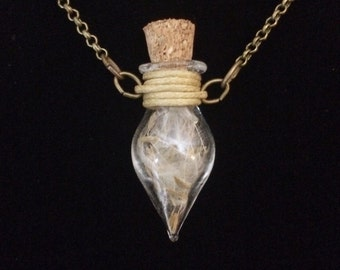 Wishes-in-a-bottle-wish-holder-glass-vial-removable-cork-dandelion-seed-bronze-pendant-necklace