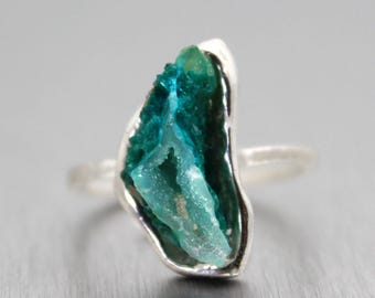 SUMMER SALE chrysocolla ring, gem silica, druzy ring, sterling silver, stacking ring, stackable ring, dainty ring, recycled silver