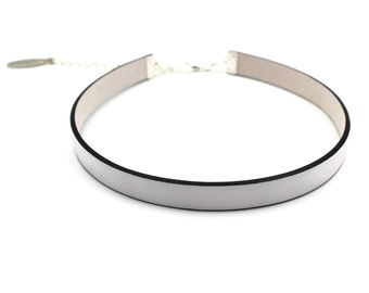 White Leather Choker, 10mm Flat Leather Cord, Sexy and High Quality, Skinny, Minimal - Custom MADE to YOUR SIZE on request