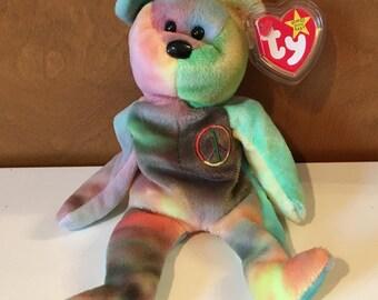 Peace (bluish) Beanie Babies Bear.