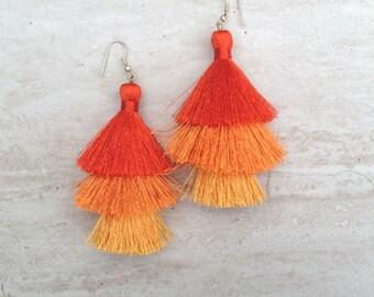 Orange Hues Silk Tassel Earrings Orange Ombre Combo Tassle Earrings Orange Tassle Earings BOHO Earrings, Wholesale Jewelry Earrings Handmade