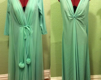 1950s Lucie Ann Seamfoam Peignoir Robe and Nightie Set sz m/l