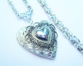 SILVER Filigree HEART LOCKET Antique Silver Heart Filigree Victorian Locket Necklace by DKsSteampunk