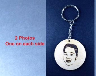 Personalized Wood Engraved Photo Keychain